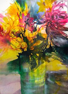 """Photo from album """"Elke Memmler"""" on Yandex. Art Floral, Watercolor Artists, Abstract Watercolor, Watercolour Painting, Watercolors, Easy Flower Painting, Flower Art, Abstract Flowers, Watercolor Flowers"""