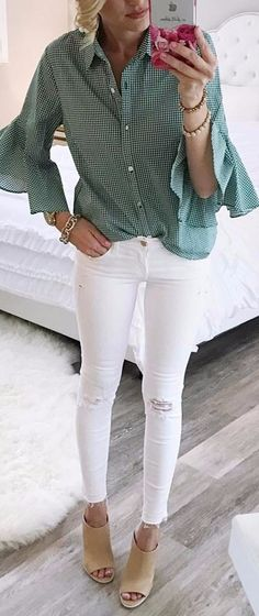classy look white jeans never goes wrong