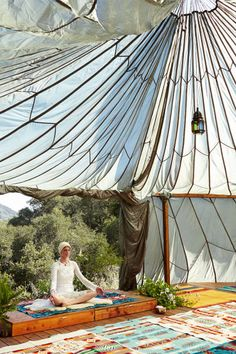 Angela Linvall yoga tent from army parachutes