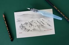 Painting mountains with a waterbrush and water-soluable graphite pencils. Water Brush, Art Watercolour, Mountain Art, Mountain Paintings, Graphite, Sketching, Pencil, Mountains, Website