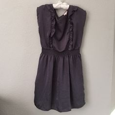 Flowing gray dress Beautiful and light weight. Small ruffle detail and slimming waste. A couple spots on the front bottom. See photos. No trades. one clothing Dresses Mini