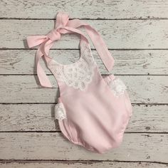 Pink Linen Baby Romper with Lace Trimming by ScarlettsBoutique on Etsy https://www.etsy.com/listing/269559003/pink-linen-baby-romper-with-lace