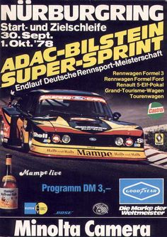 Supersprint 1978 – Hans Heyer's Zakspeed Ford Capri Turbo Ford Capri, Cool Motorcycles, Vintage Racing, Auto Racing, Fast Cars, Track, Posters, Autos, Race Cars