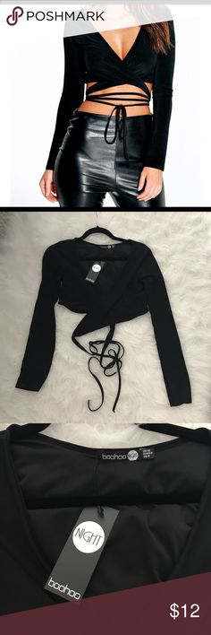 Boohoo black crop wrap NWT- Super cute and on trend, black wrap around crop top with long sleeves. Size 8... would be similar to a US Medium Boohoo Tops Crop Tops