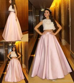2015 New Sexy Two Pieces A Line Prom Dresses Lace Top Loose Skirt Full Pink Evening Dress Online with $117.21/Piece on Cinderelladress's Store | DHgate.com