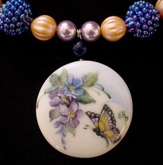 Signed Hand Painted Butterfly and Floral by KarlaPendletonStudio