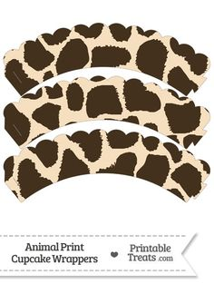 Giraffe Print Scalloped Cupcake Wrappers from PrintableTreats.com