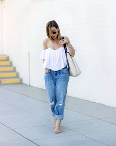 Spring Oufits | 21 cool off-the-shoulder Señorita top outfit ideas @stylecaster