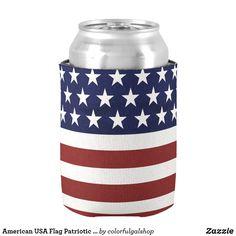 1125b4b37e18 American USA Flag Patriotic July 4th Custom Can Cooler