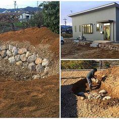 「岐阜石の石積み」  ジャルダンシェフの助っ人仕事で、昨日から、敷地周りを岐阜石(http://ibigawa.shop-pro.jp/?pid=100169962)で積んでいきます。  中には、「バンカー」となる場所もw  なかなか、エグいバンカーになりそう( ゚д゚)  #岐阜石 #石積み #崩れ積み #バンカー #造園 #庭作り #ジャルダンシェフ #腰痛い