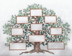 Tree Custom Cross Stitched Family Tree Pedigree Genealogy personalized for you