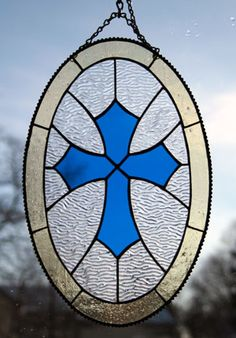 Stained Glass Oval Cross
