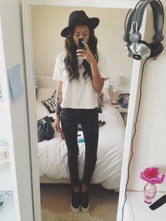 idressmyselff: Top and trousers - topshop, shoes - front row (stella mccartney dupes) hat - topshop
