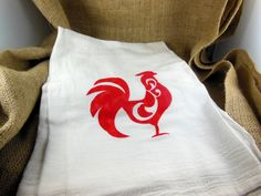 Rooster Flour Sack Towel  Hand Towel  Kitchen Towel  by CCNdesigns, $6.75