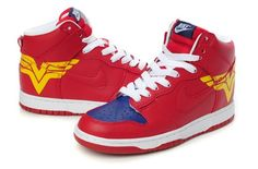 reputable site e2720 7f952 Nike Dunks Custom Design Sneakers  Nike SB Wonder Woman Dunks High Top  Comics Shoes Red For Sale