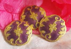 Antique 19th Century Enamel Button Champleve  Enamel Rococo Design Purple and Gold