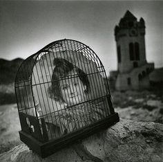 Joseph Bellows Gallery - Arthur Tress -Girl in Cage, Death Valley, CA, 1980 vintage gelatin silver print 7 x 7 inches Narrative Photography, History Of Photography, Artistic Photography, White Photography, Contemporary Photographers, Great Photographers, Arthur Tress, Black And White Pictures, Black White