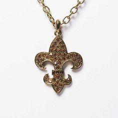 Tigerstars l $5.99 Fleur De Lis Charm Gold Tone Chain Pendant Necklace