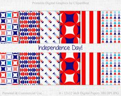 INDEPENDENCE DAY Digital Paper Commercial Use by ClipArtBrat