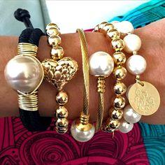 Set By Vila Veloni Heart And Family Coin Elegant Bracelets