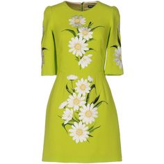 Dolce & Gabbana Short Dress ($2,875) ❤ liked on Polyvore featuring dresses, acid green, embroidery dresses, short tube dress, 3/4 sleeve dress, green mini dress and three quarter sleeve dress