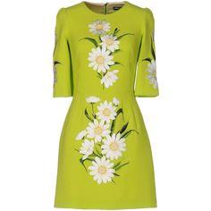 Dolce & Gabbana Short Dress (€1.630) ❤ liked on Polyvore featuring dresses, acid green, short tube dress, zipper dress, embroidery dress, green dress and short dresses