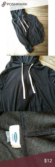 Light Weight Zip Up Hoodie Lightly worn, great condition.  Perfect for a cool summer night.   60% cotton , 40% polyester   Built-in hood, with drawstring.  Pieced trim inside neck for added durability.  Zipper from hem to neck.  Hand-warming pockets at front.  Soft, lightweight slub-knit jersey Old Navy Tops Sweatshirts & Hoodies