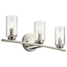Kichler Marita Nickel Transitional Vanity Light at Lowe's. The Marita collection offers a wide variety of lighting fixtures with an attractive brushed nickel nickel finish. The clear wave glass shades and brushed Vanity Light Bar, Led Vanity Lights, Vanity Lighting, Brushed Nickel Pendant Lights, Transitional Chandeliers, Light Bulb Bases, Glass Texture, Glass Shades, Clear Glass