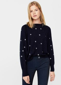 Stars embroidered sweater - f foSweaters Woman Pullover, Manga, Ladies Dress Design, Sweater Weather, Pulls, Wardrobes, Fashion Prints, Knitwear, Winter Outfits