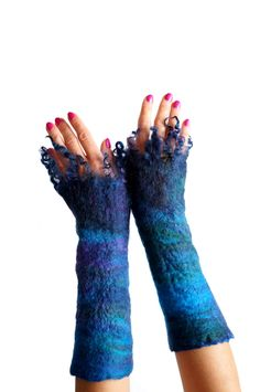 Mittens, fingerless gloves, arm warmers, turquoise, green, violet- Feltmondo by…