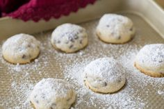These Chocolate Chip SNOWBALL COOKIES are made egg-free and they positively melt in your mouth! These are so easy and always a hit! Egg Free Cookies, Yummy Cookies, Chip Cookies, Biscuit Cookies, Holiday Cookies, Easy Cookie Recipes, Baking Recipes, Dessert Recipes, Cookie Desserts