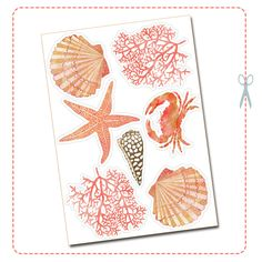 free printable shell and coral wreath 2
