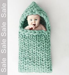 SALE Baby slapen zak gebreid Merino wol 21 micron kleur door MERINNO