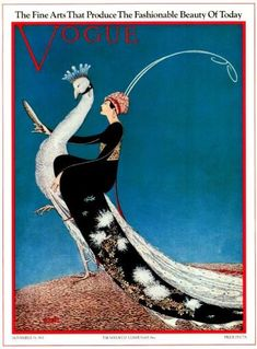 Art Print on SILK Vintage Vogue Magazine Cover Lady Riding a Peacock- use in Fiber Arts Collage Mixed Media - free s/h in US. $5.99, via Etsy.
