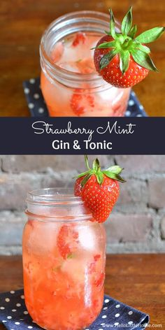 Gin and Tonic This Strawberry Mint Gin and Tonic is a simple and delicious twist on a classic G&T! Strawberry Mint Gin and Tonic is a simple and delicious twist on a classic G&T! Gin Recipes, Gin Cocktail Recipes, Alcohol Recipes, Cocktail Drinks, Party Recipes, Bartender Drinks, Margarita Recipes, Summer Recipes, Easy Summer Cocktails
