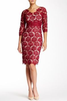 Mikael Aghal Floral Lace Sheath Dress