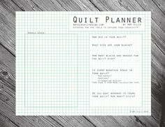 Quilt Planner - AmysCreativeSide.com This could quite possibly change my life!