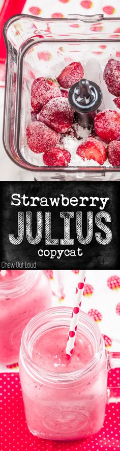 4 Ingredients. All natural, nothing artificial. Cold, frothy, YUM! No more making a run to the mall for this. #smoothie #strawberry #julius Strawberry Julius Recipe, Frozen Strawberry Smoothie, Starbucks Strawberry Smoothie Recipe, Frozen Strawberry Recipes, Smoothie Recipes With Yogurt, Strawberry Drinks, Smoothie Popsicles, Smoothie Ingredients, Yogurt Smoothies