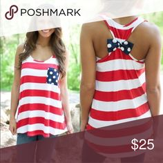 🇺🇸 American Flag Polka-Dot Tank! NEW! Adorable red and white striped tank with polka-dot details. NWOT from package. Size medium but runs small - listed as S/M. Body is cotton blend, bow and pocket are black polka-dot chiffon. Location: tee bin Boutique Tops Tank Tops