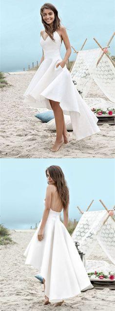 chic spaghetti strap v-neck high low wedding dress with pocket, simple spaghetti strap hi-lo bridal dress with pocket