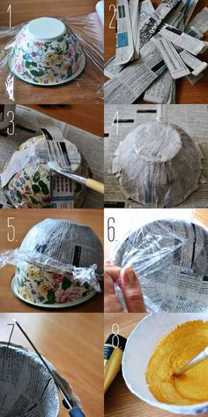 nice Pot of Gold Papier Mache Jewelry Bowl Papier-maché met een uitneembare mal (in dit geval een kom) als basis. Faça Maravilhas com Papel Machê! – Artesanato na Rede Make Wonders with Machê Paper ! – Crafts in the Net Discover thousands of image Paper Mache Bowls, Paper Bowls, Paper Clay, Diy Paper, Paper Art, Gold Paper, Tissue Paper, Home Crafts, Diy And Crafts