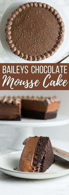 A rich and decadent Baileys chocolate mousse cake. Each layer is infused with the smooth, creamy taste of irish cream. alles für Ihren Stil - www. Easy Desserts, Delicious Desserts, Yummy Food, French Desserts, Gourmet Desserts, Chocolate Mousse Cake, Chocolate Desserts, Chocolate Decorations, Alcohol Chocolate