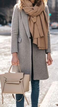 fall fashion trends / grey coat + nude scarf + bag + jeans