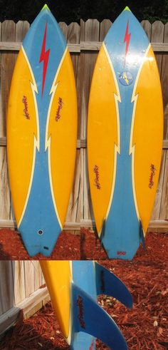 Vintage, 1981-82 Lightning Bolt Surfboard. Blue Twin Fins.