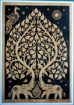 Thai traditional art of Bodhi tree by silkscreen by AmornGallery