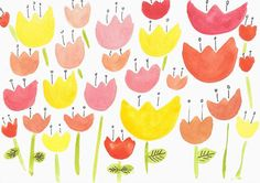 Post cards watercolor prints / Apples and flowers / CHOOSE ANY 2