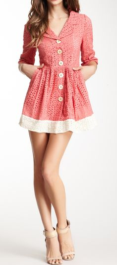 Eyelet lace dress. In a warmer color, this would be so cute with tights.
