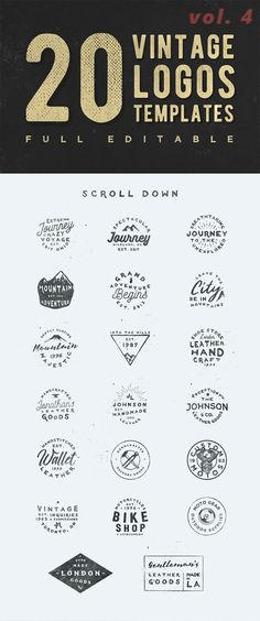 20 Free logos with their vintage look will add a rough touch to your designs. They're fully editable so you can change the text, the colors, stroke weight. Japanese Sleeve Tattoos, Full Sleeve Tattoos, Journey Journey, Band Tattoo, Tattoo Ink, Free Logo Templates, Minimal Tattoo Design, Geometric Tattoo Arm, Tattoo Graphic
