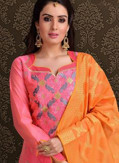Attract compliments by this pink chanderi churidar designer suit. This ravishing attire is amazingly embroidered with embroidered work. Comes with matching bottom and dupatta. (Slight variation in col. Churidhar Neck Designs, Kurtha Designs, Neck Designs For Suits, Neckline Designs, Designs For Dresses, Dress Neck Designs, Salwar Neck Patterns, Salwar Kameez Neck Designs, Churidar Designs
