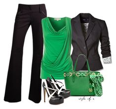 """Green, Black, & White"" by styleofe ❤ liked on Polyvore featuring Mexx, MICHAEL Michael Kors and Truth or Dare"